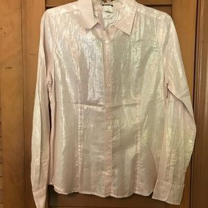 J.CREW Pink Metallic Shimmer Button-down Blouse